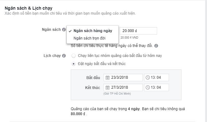 (Chi phí) Tiền chạy quảng cáo Facebook và thời gian là do bạn quyết định