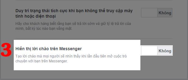 Cách tạo lời chào tự động trong Messenger: Bước 3