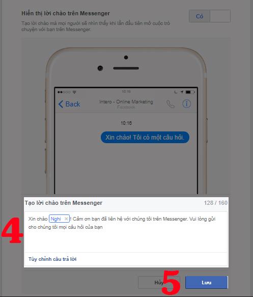 Cách tạo lời chào tự động trong Messenger: Bước 4 và 5