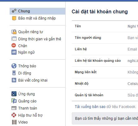 Cửa sổ cài đặt Facebook