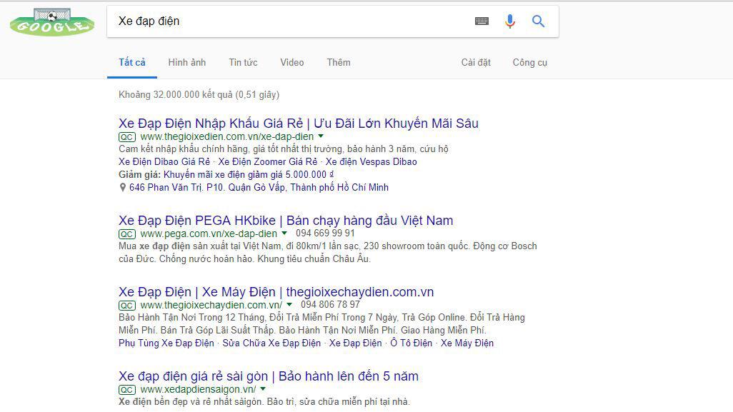 Quảng cáo xe đạp điện trên Google