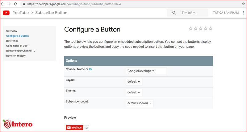 Trang tạo nút đăng ký Youtube
