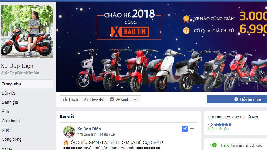 Một trang Fanpage kinh doanh xe đạp điện